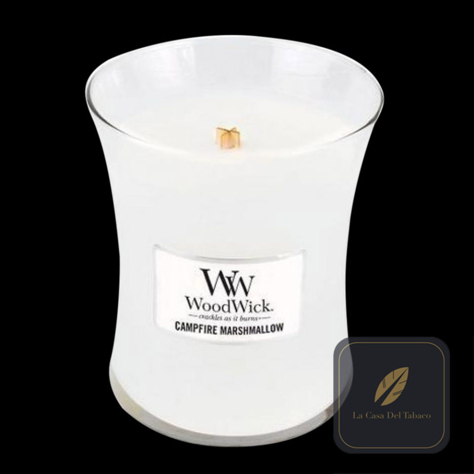 Woodwick Medium Candle-Campfire Marshmallow White